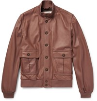 Valstarino Washed Leather Bomber Jacket Brown
