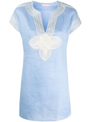 Tory Burch Embroidered Details Tunic Blue