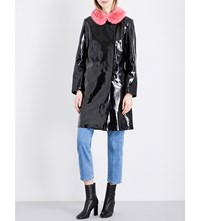 Shrimps Hokus Faux Fur Collar Pvc Coat Black Bubblegum