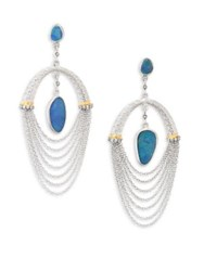 Coomi Silver Spring Opal Diamond And Sterling Drop Earrings Silver Opal