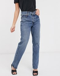 Topshop Dad Jeans In Mid Wash Blue