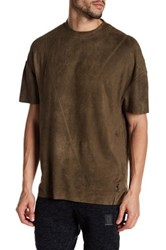 Religion Faux Suede Short Sleeve Shirt Beige