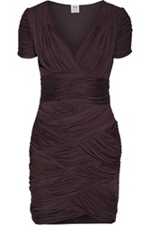 Halston Heritage Ruched Jersey Mini Dress Dark Brown