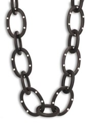 Josie Natori Acacia Wood Link Necklace Black