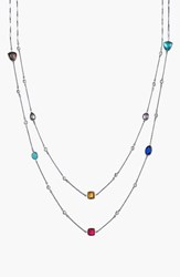 Women's Alainn Mixed Extra Long Station Necklace Silver Multi