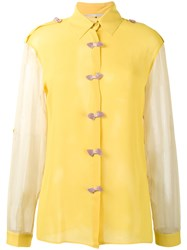 Marco De Vincenzo Bow Embellished Shirt Women Silk 42 Yellow Orange
