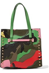 Valentino Rockstud Leather And Canvas Tote Green