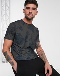 New Look All Over Print Floral Sublimation T Shirt In Dark Khaki Green