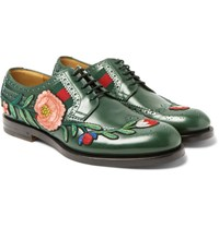 Gucci Appliqued Leather Wingtip Brogues Green
