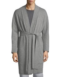 Neiman Marcus Cashmere Patch Pocket Robe Gray Pattern