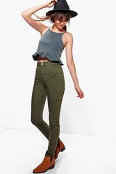 Boohoo High Rise Tube Jeans Khaki