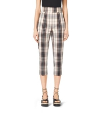 Michael Kors Madras Cotton Canvas Capri Trousers Black Muslin