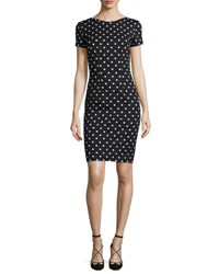 Carolina Herrera Short Sleeve Polka Dot Sheath Dress Black White Black White