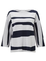 Jigsaw Letter Stripe Jumper Blue