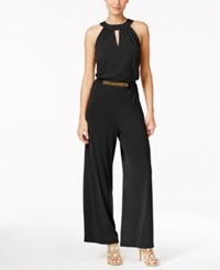 Thalia Sodi Belted Wide Leg Jumpsuit Only At Macy's Deep Black