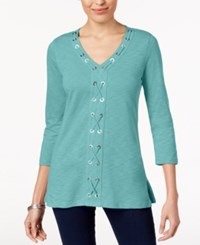 Jm Collection Cotton Grommet Laced Tunic Created For Macy's Reef Aqua