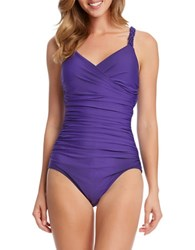 Karen Kane Plus Tahiti Wrap Maillot Swimsuit Purple