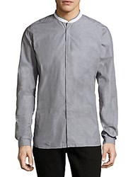The Kooples Band Collar Cotton Casual Shirt Grey