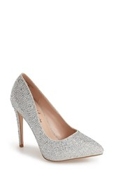 Women's Lauren Lorraine 'Samantha' Crystal Pointy Toe Pump Silver Sparkle