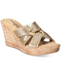 Easy Street Shoes Tuscany Solaro Wedge Sandals Women's Gold