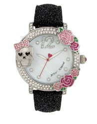Betsey Johnson Skull And Rose Pave Leather Strap Watch Black