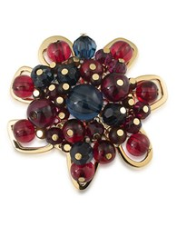 Trina Turk 14K Gold Plated Beaded Floral Brooch Multi