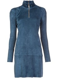 Jitrois Longsleeved Zipped Neck Dress Blue