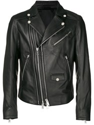 Les Hommes Multiple Zip Biker Jacket Black