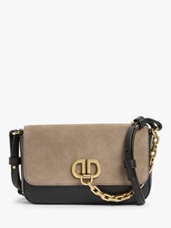 Dkny Clement Leather Flapover Cross Body Bag Black Brown