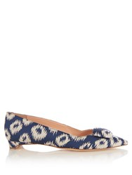 Rupert Sanderson Aga Point Toe Ikat Jacquard Flats Blue Multi