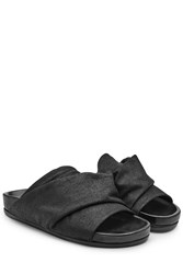 Rick Owens Leather Open Toe Sandals Black