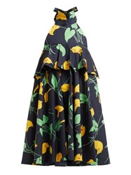 La Doublej Bonbon Trapeze Calla Lilly Print Cotton Midi Dress Black Print