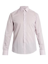 Lanvin Spread Collar Single Cuff Pinstriped Cotton Shirt Pink
