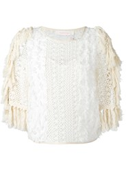 See By Chloe Fringed Open Knit Top White
