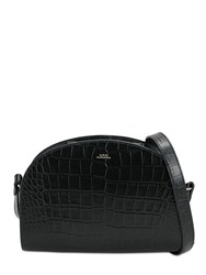 A.P.C. Demi Lune Croc Embossed Leather Bag Vert