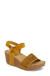Bos. And Co. Lolo Platform Wedge Sandal Mustard Suede