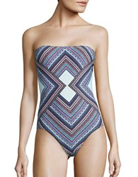 Vince Camuto Tribal Print Bandeau One Piece Navy