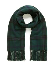 Mulberry Check Felted Wool Scarf Bottle Green