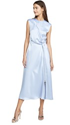 Cedric Charlier Satin Wrap Dress Blue