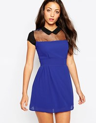 Wal G Skater Dress With Sheer Insert Electricblue