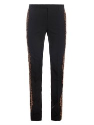 Saint Laurent Embroidered Wool Twill Trousers