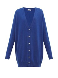 Ryan Roche Faux Pearl Buttoned Oversized Cashmere Cardigan Blue