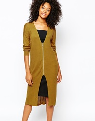 Monki Zip Detail Long Line Cardigan Mustard