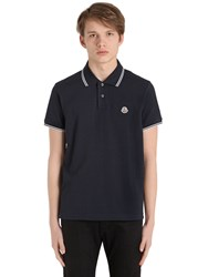 Moncler Logo Stripes Cotton Pique Polo Shirt