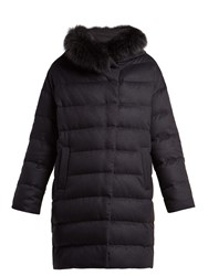 Herno Hooded Quilted Down Silk And Cashmere Blend Coat Navy