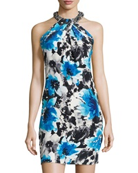 Carmen Marc Valvo Sleeveless Twist Front Dress Turquoise