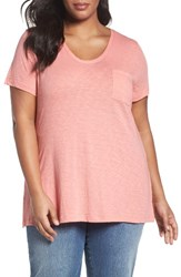 Caslonr Plus Size Women's Caslon Rounded V Neck Tee Pink Blossom
