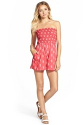 Fire Print Strapless Romper Juniors Red