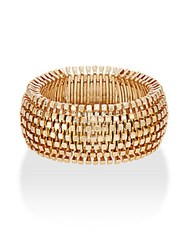 Kenneth Jay Lane Couture Collection Square Beaded Stretch Cuff Bracelet Gold