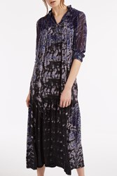 Raquel Allegra Victorian Neck Dress Navy